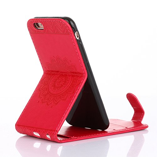 JAWSEU Coque Etui pour iPhone 6/6S 4.7,iPhone 6 Leather Case with Strap,iPhone 6S Etui en Cuir Folio Flip Wallet Cover Case,2017 Neuf Style Femme Homme Up and Down Unlock Holster Rabat Portefeuille ét rose rouge