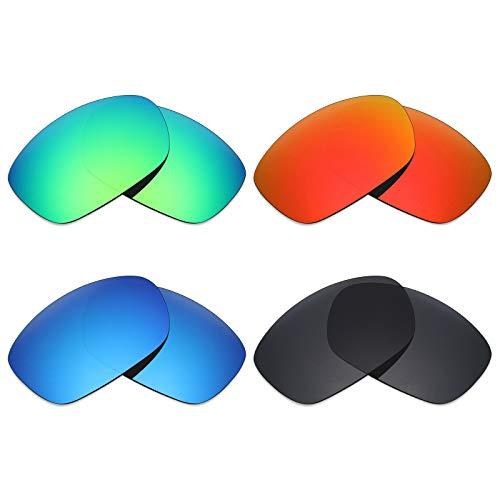 Mryok polarisierte Ersatzgläser für Oakley Ten X Sonnenbrillen - Stealth Black/Fire Red/Ice Blue/Emerald Green, 4 Paar