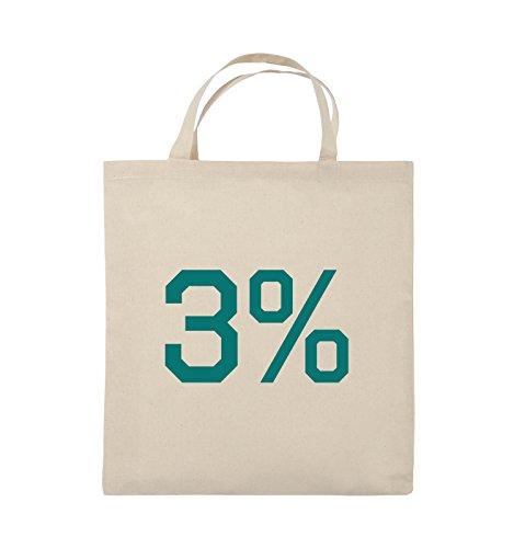 Buste Comiche - 3% - Logo - Borsa In Juta - Manici Corti - 38x42cm - Colore: Nero / Rosa Naturale / Turchese