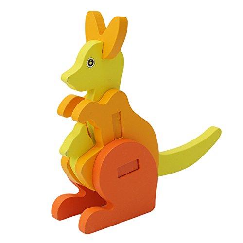 Hölzerne Jigsaw Puzzle Blocks Bildung Kinder Kinder Spielzeug, Baby-Spielzeug, Lernspielzeug (Känguruh) ()