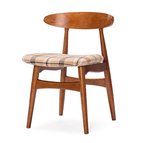 Rollsnownow Beige Red Lattice Coussin À Manger Chaise En Bois Massif Dossier Chaise Chaise De Bureau Bureau Et Chaise Café Tables Et Chaises Rétro (Color : Red-brown)