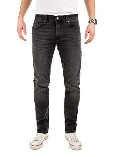 WOTEGA Herren Jeans Hose Basic Stretch Jeanshose Regular Slim, Grau (Eiffel Tower 185210), W33/L34