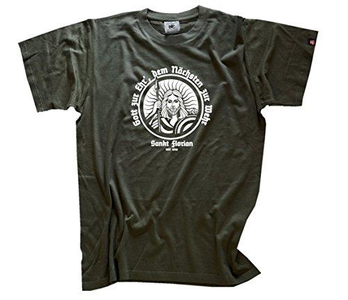 Sankt Florian-Gott zur Ehr-dem nächsten zur Wehr Feuerwehr T-Shirt Olive XXXL