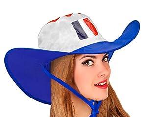 Atosa-24583 Atosa-24583-Gorro Cowboy Francia Plegable-Mundial De Fútbol Y Deportes, Color Azul, Blanco y Rojo (24583)