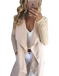 GUOCU Femme Automne Manteaux Manches Longues Irrégulier Cardigan Veste  Manteau Elégant Mi-Longue Pull Outwear f93e3eab279