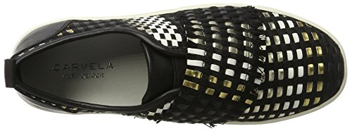 Carvela Leave Np, Baskets Basse Donna Nero (noir / Peigne)