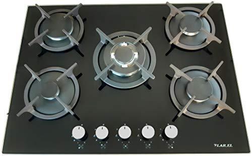 Superficie de cocción Moto de 5fuegos 70cm O Metano empotrable Vidrio, con...