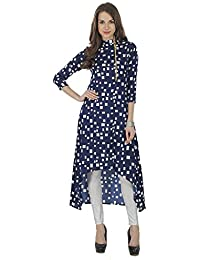 The Bebo Navy Blue Pure Crepe Straight Elegant Kurti For Womens & Girls
