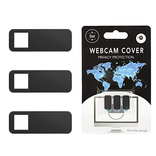 moko cubierta de cámara web,3 pcs cubierta de cámara deslizante ultra delgada con adhesivo fuerte, protección de su seguridad y privacidad para ordenador,imac, macboook, ipad, teléfono- negro
