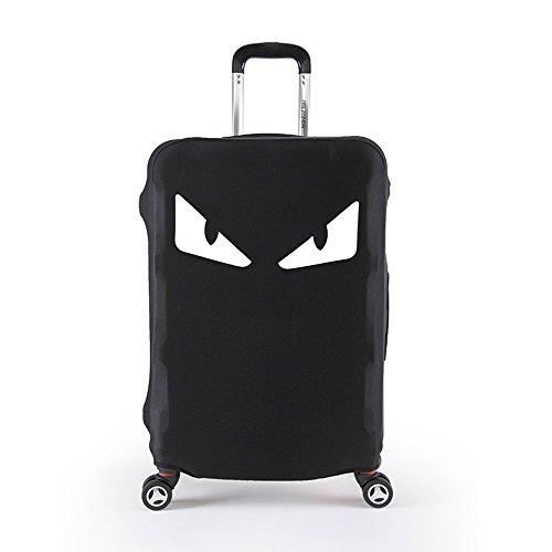 Elastisch Reise Kofferschutzhülle Abdeckung mit Klettverschluss und Band Waschbar Kofferhülle Schutz Bezug Luggage Cover (Schwarz-Auge, L)