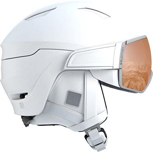 Salomon casco da sci e snowboard con visiera per donna, solution otg, per portatori di occhiali, interno in schiuma eps 4d, taglia s, circonferenza : 53-56 cm, mirage s, bianco, l40593400