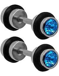 tumundo 2 5mm Pendientes Aretes Falso-Plugs Piercing Accesorios Túnel Glitter Strass Joyas Oreja Enchufes