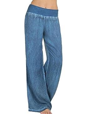 Hibote Pantalones Mujer Pantalones Bootcut cómodos Pantalones Acampanados de Cintura Alta Estampado de Flores...
