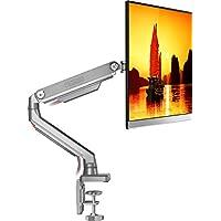 ONKRON Soporte de brazo articulado para monitor de 17 19 21 24 27 32 pulgadas Giratorio y Ajustable para escritorio Pantalla Plana LED LCD y Curvada con VESA 75x75 y 100x100 mm MS80 Color Plata