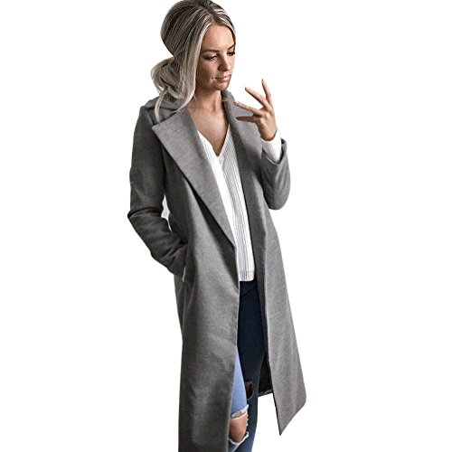 feiXIANG Langer Mantel Parka Business Beiläufiges Mantel Winter Frauen Revers Outwear (L,Grau)