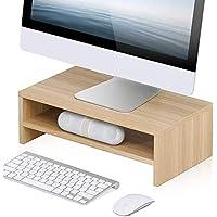 حامل شاشة الكمبيوتر من فيتويز مكون من طبقتين لرفع اللاب توب/ الطابعة/ التلفزيون مع رف تخزين للمكتب والمنزل والمدرسة، مقاس 42.5 × 23.5 سم، بلون بيج DT204201WO