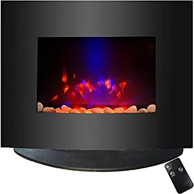Syntrox Germany Kamin Chef Wall Mounted Electric Fireplace in black with Remote Control