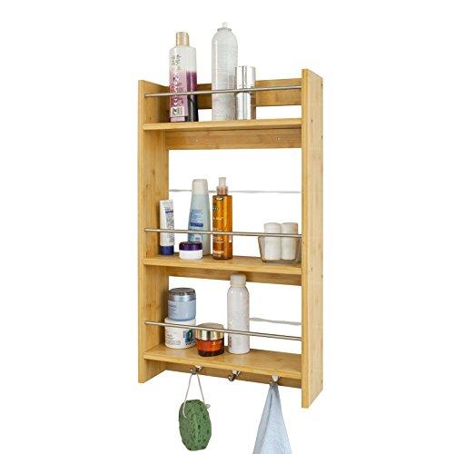 SoBuy® Estantería de pared, estante de pared, estantería de baño, estantería de cocina de bambú FRG33-N(naturaleza) ES