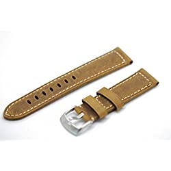 Blenheim London® Vintage 22mm Matt Light Tan Hand Made Genuine Leather and Stainless Steel Pin Buckle Watch Strap