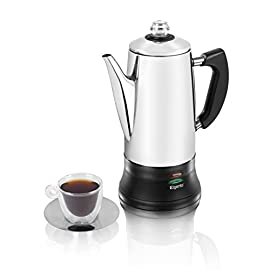 Elgento 12 Cup Stainless Steel Coffee Percolator with Boil Dry Cut-Out and Overheat Protection, Concealed Element, 1100 W, 1.8 Litre, Silver