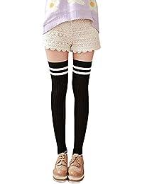 Covermason Mujer Raya Encaje Calcetines hasta la rodilla (Negro)