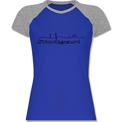 Shirtracer Skyline - Stuttgart Skyline - Zweifarbiges Baseballshirt/Raglan T-Shirt für Damen Royalblau/Grau meliert