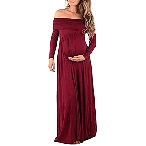 Robe, Xinan Femmes Cowl Neck Grossesses Sexy Robe d'épaule Robe d'allaitement maternelle (rouge, L)