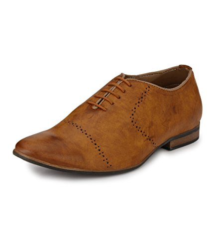 Peponi Men's Tan Faux Leather Party Lace-ups Formal Shoes 40UK