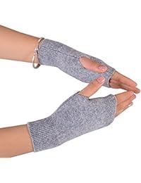 NOVAWO 100% cachemir suave cálido invierno de punto fingerless guantes para hombres mujeres