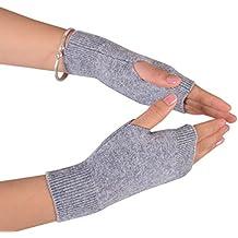 NOVAWO® 100% Cashmere Half Fingerless Thumb Hole Warm Gloves for Men Women