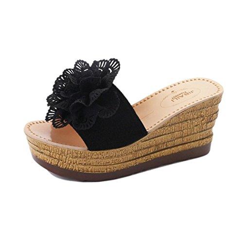 Smrbeauty scarpe con i tacchi alti sandali pantofole donna,scarpe con piattaforma floreale sandali donna, ragazze infradito scarpe basse aperte impermeabile con zeppa sandali da donna (36, nero)