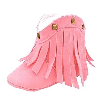 Fire Frog  Baby Cowgirl Boots, Baby Mädchen Krabbelschuhe & Puschen, rosa - rose - Größe: 6-12 Monate