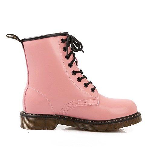AgooLar Damen Rund Zehe Niedriger Absatz Blend-Materialien Rein Stiefel, Pink, 35