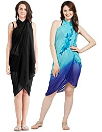 SOURBH Women's Faux Georgette Beach Wear Wrap Combo of 2 Sarong Plain & Floral Printed Pareo Swimsuit Cover up (S149_Black & Sky Blue)