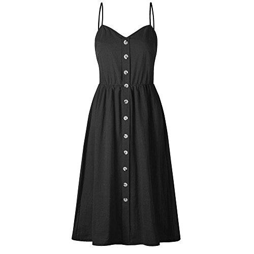 Bellelove Damen A-Linie Kleider Träger Rückenfrei Sommerkleider Knöpfen Midi Casual Strandkleid mit Taschen