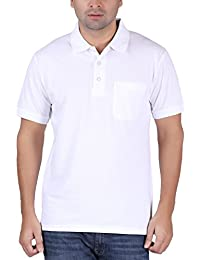 T-Shirt.ind.in Casual Mens White Collar T-Shirt