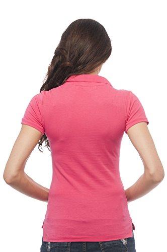 Hollywood Star Fashion Damen Poloshirt Hot Pink