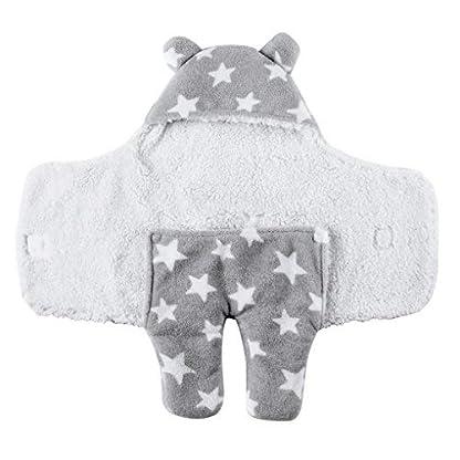Saco de dormir de coralina para recién nacidos con capucha y pies; cálido y grueso, para otoño e invierno, de 65x75cm, para niño y niña