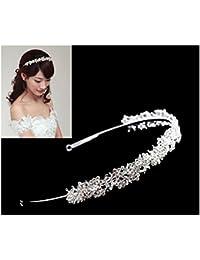 BINLUNNU Tiara para boda, de estrás, diseño de Flores y Hojas, para Tocado, plateado