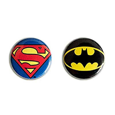 DC Comics - Superhéros - Superman Logo & Batman Logo Ensemble de badge - Ensemble de 2 button - Design original sous licence - LOGOSHIRT