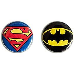 DC Comics - Superhéroes - Superman Logo & Batman Logo Juego de botones de 1 pulgada - Juego de 2 insignia - Diseño original con licencia - LOGOSHIRT
