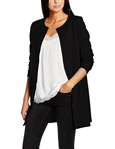 VILA CLOTHES Damen Blazer Vinaja New Long Jacket-Noos, Schwarz (Black Black), 34 (Herstellergröße: XS) (Schwarz Sport Mantel Blazer Jacke)