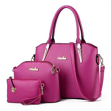 Famoso marchio donne Borsa Hobos 2017 Moda Donna tracolla messenger Borse in pelle PU femmina di Tote Bag Set di 3 pezzi,Arrossendo rosa Black