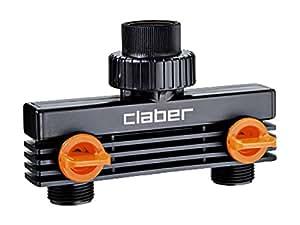 Claber 8589 Presa a Due Vie 3/4 Maschio, Nero/Arancione/Grigio