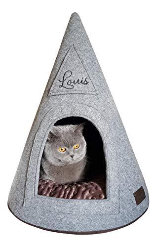 Izabell Katzentipi Katzenhaus Katzenhöhle Haus mit Katzennamen gestickter Katzenname Personalisierung Haus mit doppelseitigem Kissen Filzhaus Filzhöhle Katzenbett Katzenlager #3