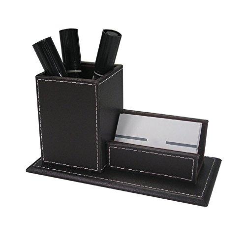 Outflower - piccolo organizer da scrivania portapenne porta biglietti da visita, in pelle poliuretanica + legno, black, 7.87*3.94*3.94inch