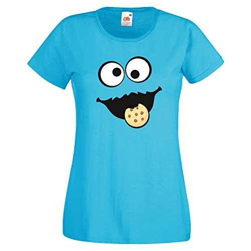 Keks Monster Damen T-Shirt Gruppen Kostüm Karneval Fasching -