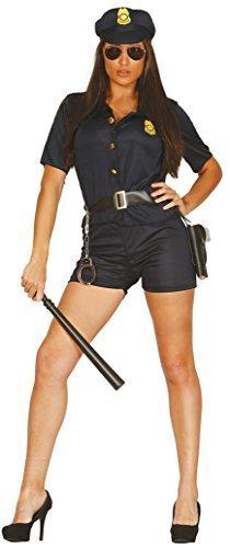 Damen Sexy Gesetz & Bestellung Police Polizist Uniform Polizistin Kostüm Kleid Outfit 14-18 - Blau, 42-46