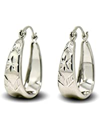02ec48ce67ea Blue Diamond Club - Diamond Cut Pattern 9ct White Gold Filled Creole Oval Hoop  Earrings Womens