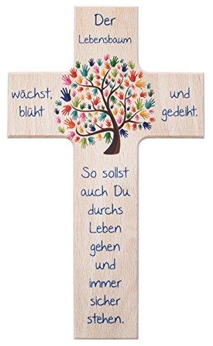 Preisvergleich Produktbild Kinder- Holzkreuz: 'Lebensbaum' 15 cm